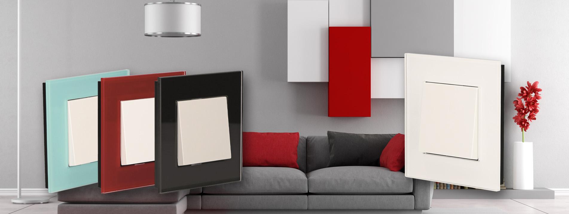 Das Leben ist voller Farben.  Die Acrylglasrahmen sind in vier verschiedenen Farben erhältlich und lassen sich mit den herkömmlichen Schaltereinsätzen und Abdeckungen hervorragend kombinieren.